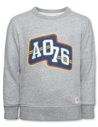 AO 76 C-neck sweater Ao logo - Grijs