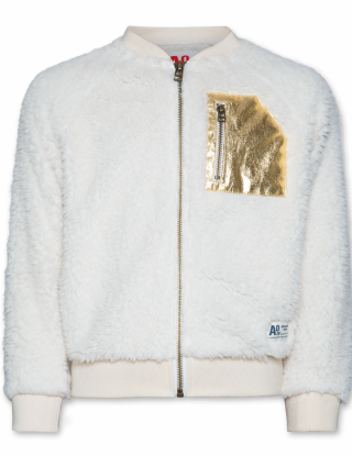 AO 76 Full zip sweater bont met goud - Wit