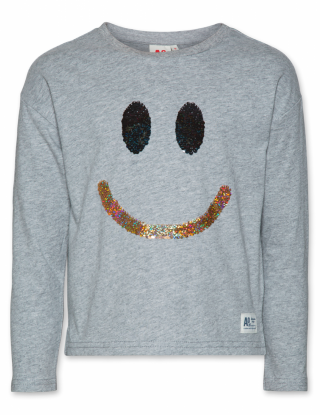 AO 76 Grijze c-neck t-shirt Keep smiling - Grijs