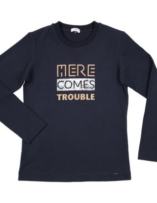 GYMP T-shirt HEre Comes Trouble - Blauw