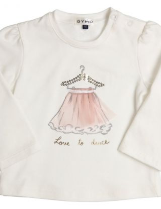 GYMP T-shirt Love To Dance met tulle - Wit