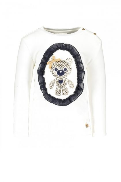 LE CHIC T-shirt glitter teddy - Wit