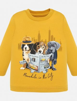 MAYORAL T-shirt DOGS - Geel