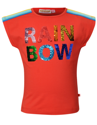 SOMEONE T-shirt rainbow - Rood