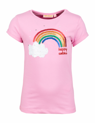 SOMEONE T-shirt rainbow - Roze